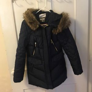 Kensie quilted down coat with faux fur trim